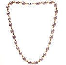 Fashion Single Strand 8-9mm Natural Pink Freshwater Pearl And Yellow Crystal Beaded Necklace (No Box)