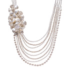 Fashion Multi Strands Natural White Freshwater Pearl Shell Flower And Crystal Beads Party Bridal Necklace