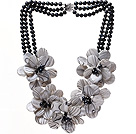 Wholesale Fashion Three Strands Black Freshwater Pearl And Layer Painted Shell Flower Party Necklace