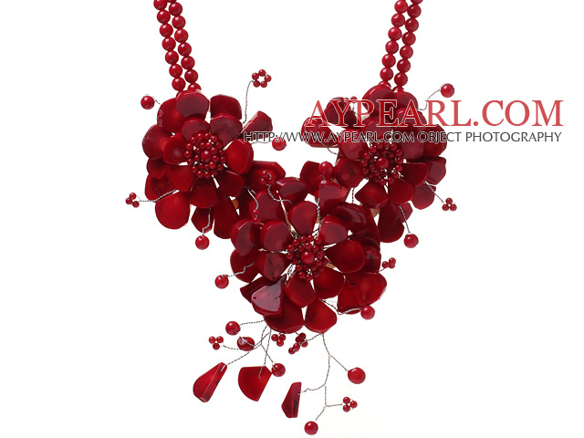 Fashion Double Strands Round Red Coral Beads And Layer Wired Crochet Red Coral Flower Pendant Party Necklace