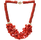 Fashion Cylinder And Multi Orange Coral Flower Cluster Strand Party Necklace With Golden Moonight Clasp