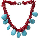 Fashion Cluster Red Coral Branch And Teardrop Blue Turquoise Necklace With Moonight Clasp