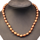 Single Strand Elegant 8-9mm Natural Brown Rice Pearl Party / Wedding Necklace
