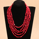 Fashion Multi Strands 8-9mm Irregular Shape Red Coral Beaded Necklace With Multi-Row Magnetic Clasp