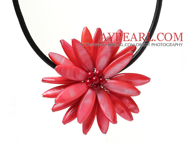 Classic Natural Red Series Freshwater Pearl Shell Flower Party Necklace With Black Leather