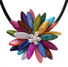 Classic Natural White Freshwater Pearl And Multi Colorful Shell Flower Party Necklace With Black Leather