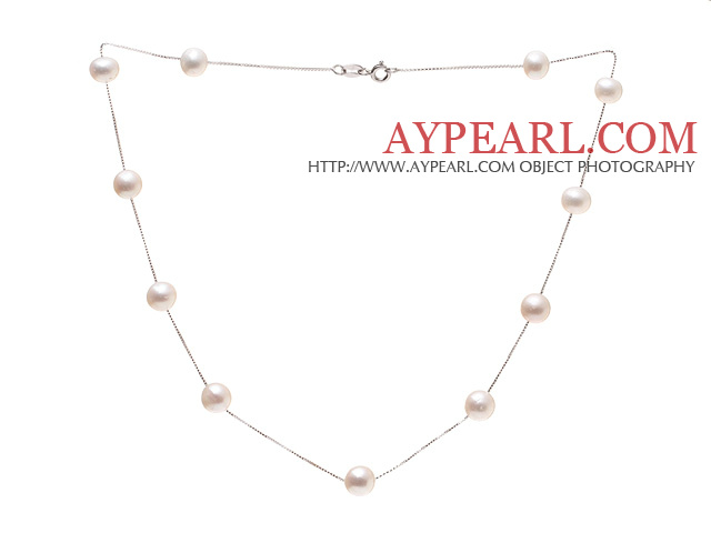 High Quality Single Strand 8-9mm Natural White Freshwater Pearl Necklace With 925 Sterling Silver Chains (No Box)