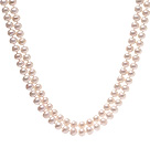 Elegant Long Design 9-10mm Natural White Freshwater Pearl Beaded Necklace
