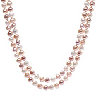 Elegant Long Design 8-9mm Natural White Pink And Purple Freshwater Pearl Beaded Necklace