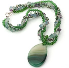 Wholesale Nice Multi-Strand Twisted Green Series Pearl Crystal Rainbow Fluorite Necklace With Large Agate Pendant