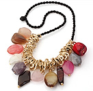Fashion Multi Colorful Gemstone And Golden Metal Loop Charms Pendant Necklace With Black Cords (Ramdom Colors On Stones)