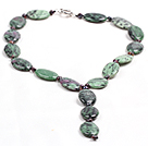 Vintage Color Y Shape Natural Freshwater Pearl Oval Zoisite Necklace