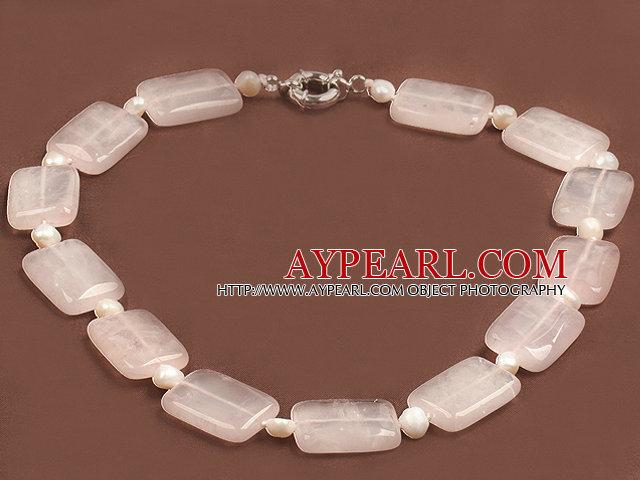 Trendy Natural White Freshwater Pearl Square Shape Rose Quartz Chunky Necklace
