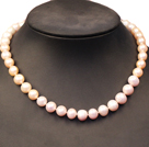 Single Strand Elegant Natural White Pink & Purple Freshwater Pearl Party / Wedding Necklace With Moonlight Clasp