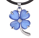 Fashion Inlaid Dark Blue Heart Shape Cats Eye Four Leaf Clover Zincon Pendant Necklace With Black Leather