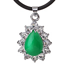Beautiful Teardrop Green Inlaid Malaysian Jade Zircon Pendant Necklace With Black Leather