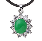 Wholesale Beautiful Oval Shape Green Inlaid Malaysian Jade Zircon Pendant Necklace With Black Leather