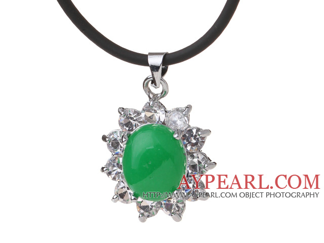Beautiful Oval Shape Green Inlaid Malaysian Jade Zircon Pendant Necklace With Black Leather