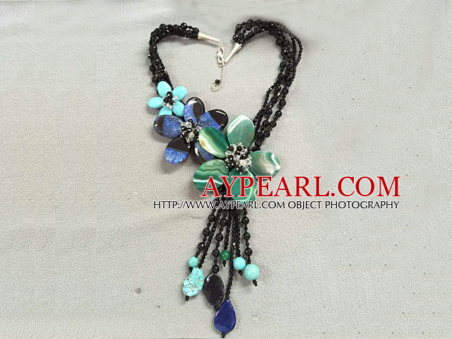 Terrific Multi Strand Black Crystal Green & Blue Agate Turquoise Flower Party Necklace