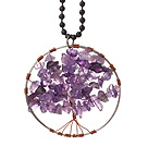 Fashion Large Loop Round Chipped Amethyst Wishing Tree Pendant Necklace With Black Beads Strand