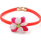 Lovely Pink og Rose akryl blomst choker kjede med Orange Leather