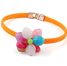 Lovely Single Colorful Acrylic Flower Choker Necklace With Orange Leather