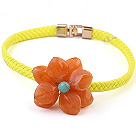 Nydelig Enkelt Orange Akryl Flower choker kjede med Yellow Leather