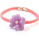 Lovely Single Purple Acrylic Flower Choker Necklace With Pink Leather