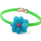 Lovely Single Blue Acrylic Flower And Green Leather Choker Necklace