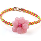 Lovely Single Pink Acrylic Flower And Colorful Leather Choker Necklace