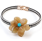 Lovely Single Yellow Acrylic Flower And Black White Leather Choker Necklace
