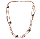 Fashion Multi Strand Multi Color 10-11mm Natural Freshwater Pearl Necklace With Brown Leather