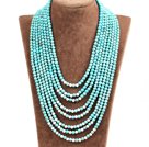 Splendid Statement Multi Strand Blue Turquoise White Howlite Beads African Wedding Necklace