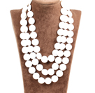 Amazing 3 Strands Disc Shape Natural White Shell Necklace(Can be made in other colors)