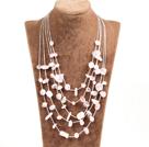 Graceful Multi Strand Irregular Shape Rose Quartz Party Necklace