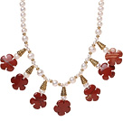 Pretty Natural White Freshwater Pearl And Red Flower Stone Pendant Necklace With Gold Charms