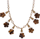 Pretty Natural White Freshwater Pearl And Tiger Eye Flower Pendant Necklace With Gold Charms
