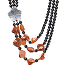 Fashion Three Strands Natural Black Freshwater Pearl And Orange Shell Necklace With Flower Clasp
