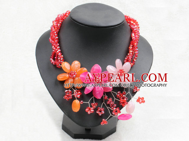 Graceful Mutli Strand Bright Red Crystal Beads Multi Color Flower Party Necklace