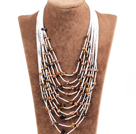 Graceful Multi Strand Irregular Shape Tiger Eye Beads Natural Brown Freshwater Pearl Party Necklace
