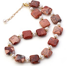 Wholesale Fashion Natural White Freshwater Pearl And Square Red Picture Jasper Strand Necklace With Gold Spacers