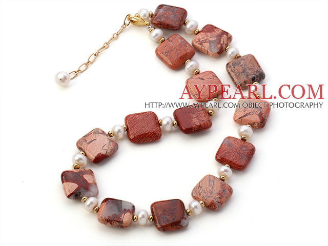 Fashion Natural White Freshwater Pearl And Square Red Picture Jasper Strand Necklace With Gold Spacers