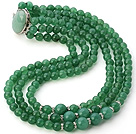 Fashion Multilayer Round Aventurine Beaded Necklace With Oval Stone Clasp