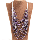 Graceful Multi Strand Irregular Shape Amethyst Party Necklace