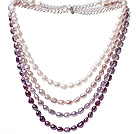 Fashion Multi Strands White Purple Baroque Freshwater Pearl And White Crystal Beads Necklace With Magnetic Clasp
