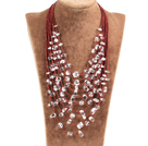 Graceful Multi Strand Irregular Shape Clear Crystal Party Necklace With Small Beads Chain