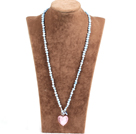 Fashion Natural Light Blue Freshwater Pearl Pink Colored Glaze Heart Pendant Necklace