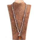 Fashion Natural Gray Freshwater Pearl Brown Colored Glaze Heart Pendant Necklace