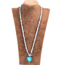 Fashion Natural Light Blue Freshwater Pearl Blue Colored Glaze Heart Pendant Necklace