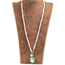 Fashion Natural WhiteFreshwater Pearl Green Colored Glaze Heart Pendant Necklace